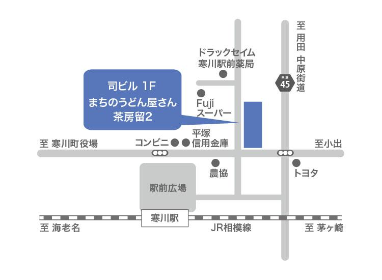 まちのうどん屋さん・茶房留2への行き方地図画像