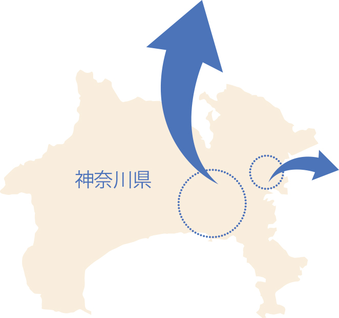 神奈川県内での位置関係図
